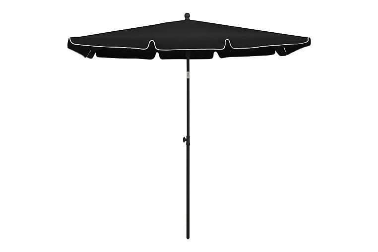 parasol med stang 210x140 cm sort - Sort - Havemøbler - Solafskærmning - Parasoller