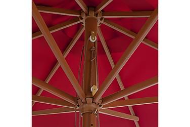 Udendørs Parasol Med Træstang 350 Cm Bordeauxfarvet