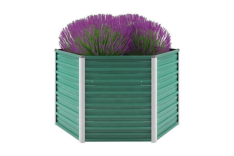 Haveplantekasse Galvaniseret Stål 129 X 129 X 77 Cm Grøn - Grøn - Havemøbler - Tilbehør udendørs - Havekrukker