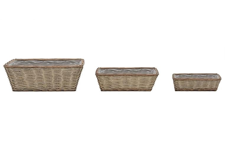 Plantekasse 3 Stk. Kurveflet Med Pe-Foring - Brun - Havemøbler - Tilbehør udendørs - Havekrukker