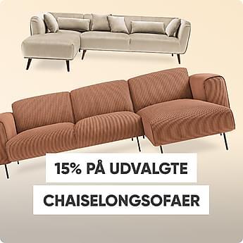 15% på udvalgte chaiselongsofaer