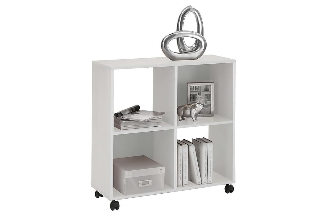 FMD reol med drejehjul og 4 rum hvid - Hvid - Møbler - Borde - Aflastningsbord & entrébord
