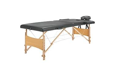 Massagebord Med 2 Zoner Træstel Antracitgrå 186 X 68 Cm