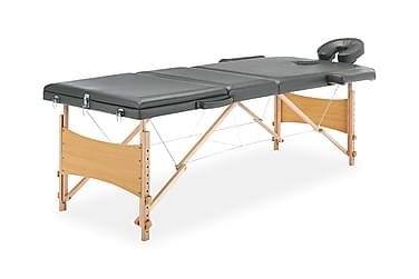 massagebord med 3 zoner træstel 186 x 68 cm antracitgrå