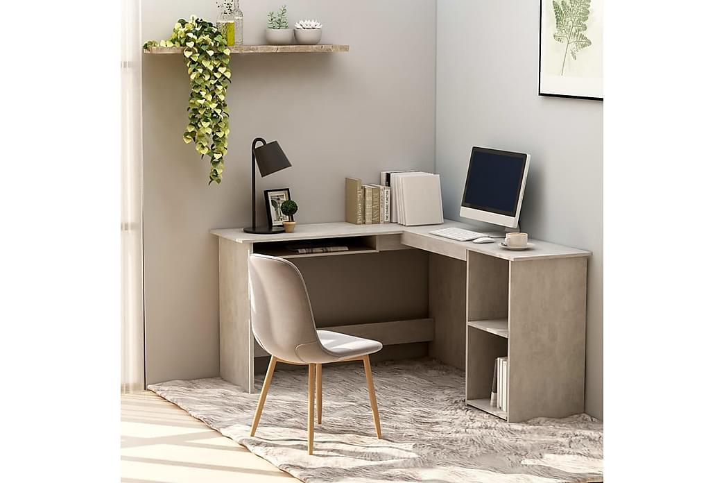 L-formet hjørneskrivebord 120x140x75 cm spånplade betongrå - Grå - Møbler - Borde - Skrivebord