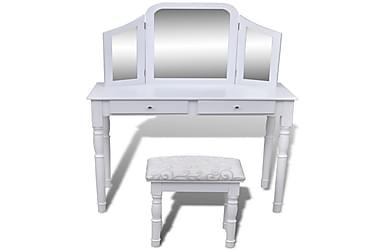 Toiletbord Med 3-I-1 Spejl Og Taburet 2 Skuffer Hvid