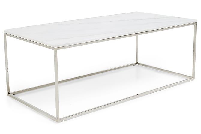Modernistisk Carrie Sofabord 120 cm Marmor - Hvid/Stål | Trademax.dk VH18