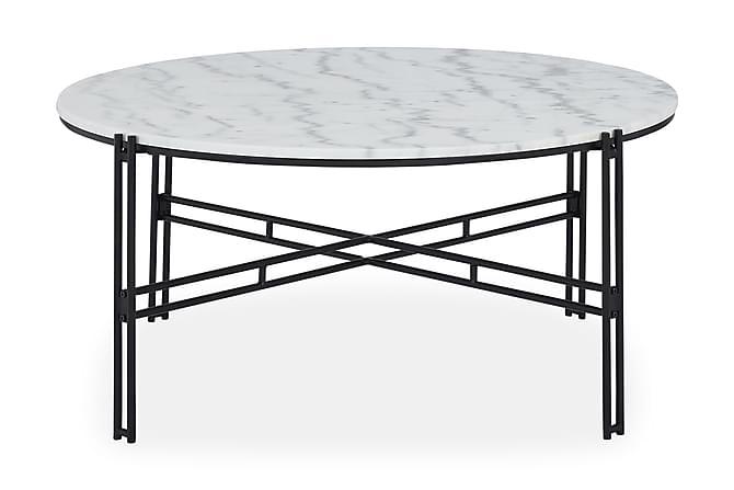 Ponza Sofabord 100 cm Rund Marmor - Hvid/Sort - Møbler - Borde - Sofaborde