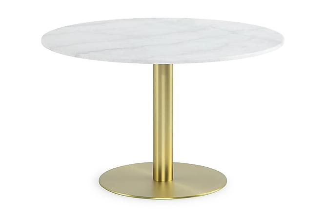 Capri Spisebord 120 cm Rund Marmor - Hvid/Børstet Messing - Møbler - Borde - Spisebord og køkkenbord