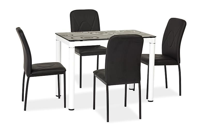 Dameara Spisebord 100 cm - Glas/Sort/Hvid - Møbler - Borde - Spisebord og køkkenbord