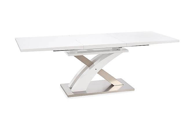 Sandor Udvideligt Spisebord 160 cm Glas - Hvid - Møbler - Borde - Spisebord og køkkenbord