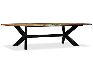 Spisebord I Massivt Genbrugstræ Og Stål Krydsstel 180 Cm