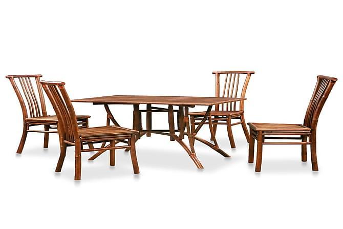 Spisebordssæt I 5 Dele Bambus - Brun - Møbler - Borde - Spisebord og køkkenbord