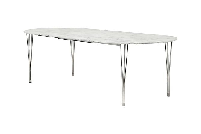 Tyson Udvideligt Spisebord 160 cm Oval - Marmor/Krom - Møbler - Borde - Spisebord og køkkenbord