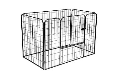 robust hundegård 120 x 80 x 70 cm stål sort