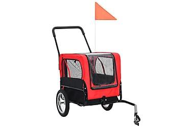 2-I-1 Cykelanhænger Og Joggingklapvogn Til Kæledyr Rød Og