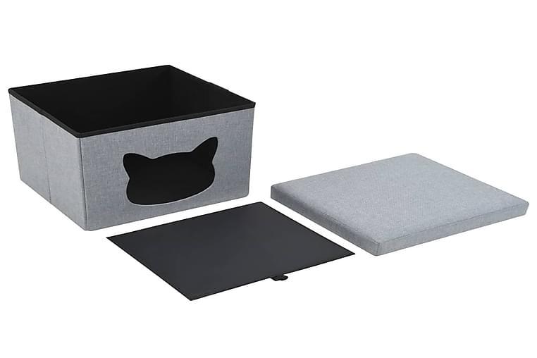 Foldbar Katteseng Imiteret Linned 37 X 33 X 33 Cm Grå - Grå - Møbler - Kæledyrsmøbler - Kattemøbler