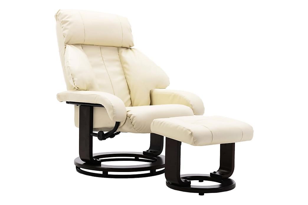 Lænestol Med Fodskammel Kunstlæder Cremefarvet - Creme - Møbler - Lænestole & puffer - Lænestole
