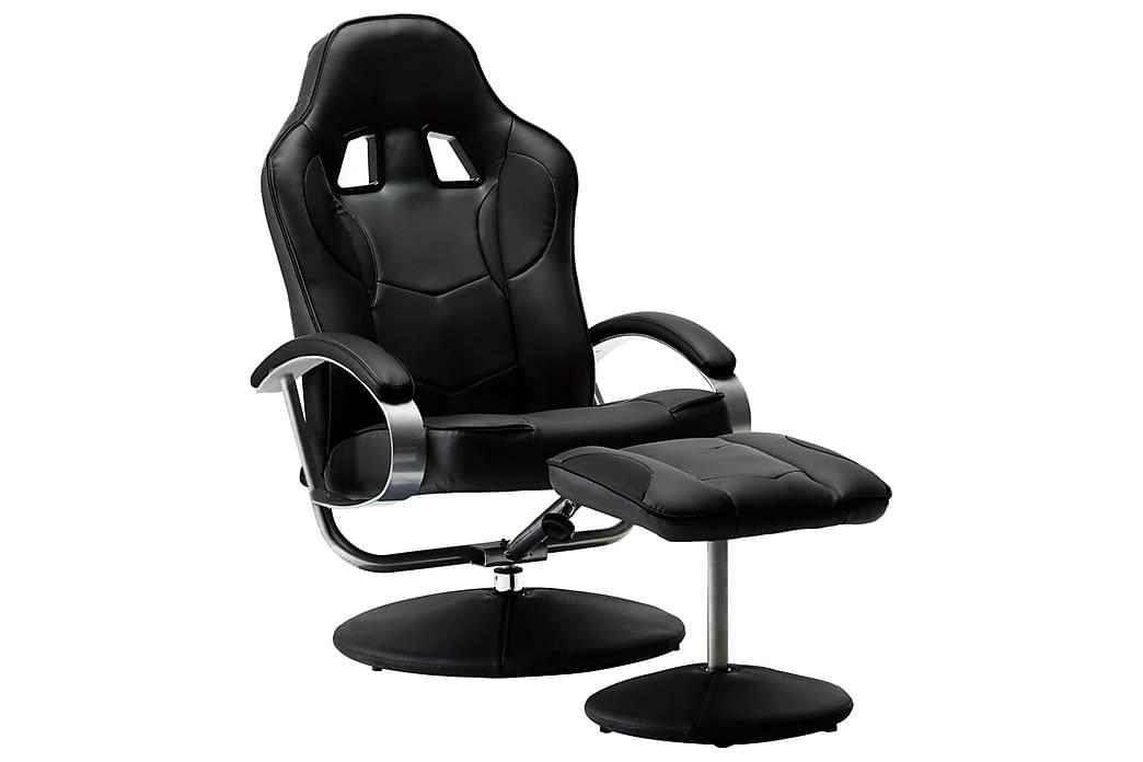 lænestol med fodskammel sort kunstlæder - Møbler - Lænestole & puffer - Lænestole