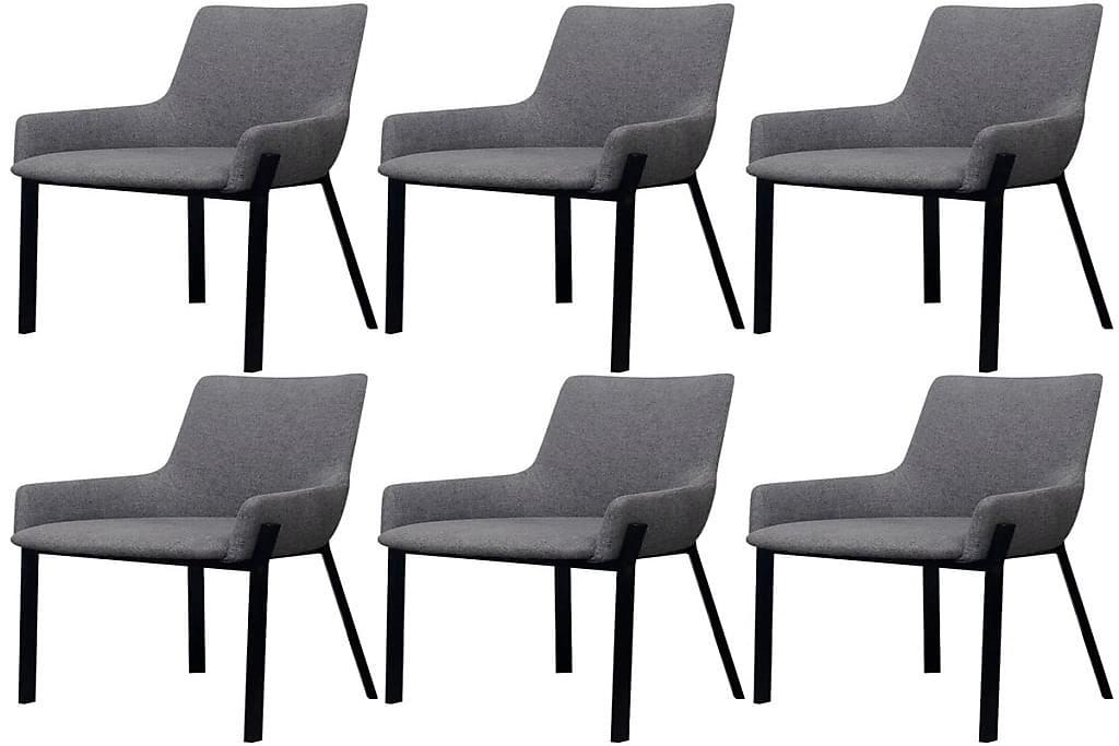 Spisebordsstole I Stof, 6 Stk. Lysegrå - Grå - Møbler - Lænestole & puffer - Lænestole