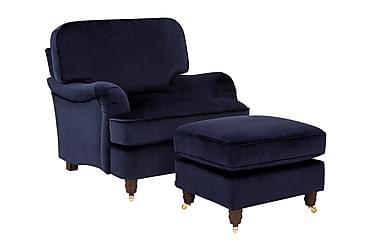 Howard Deluxe Lænestol med Fodskammel Velour