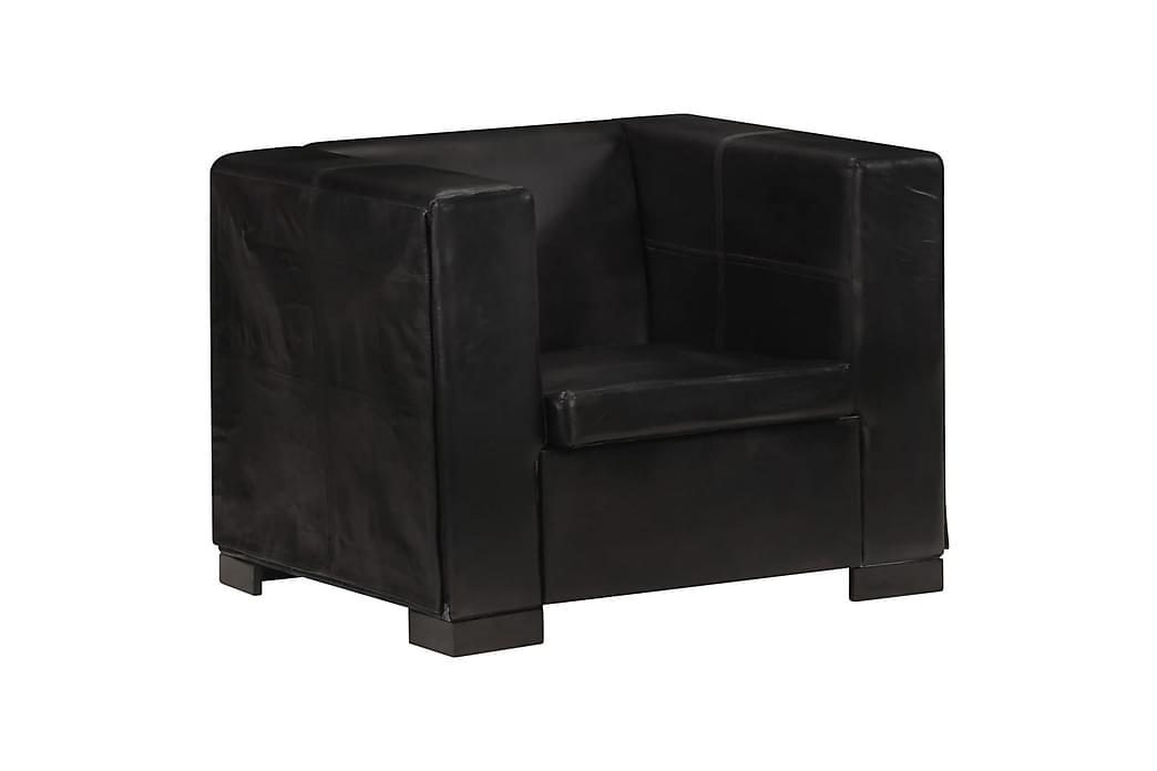 Lænestol ægte gedeskind sort - Sort - Møbler - Lænestole & puffer - Læderstol