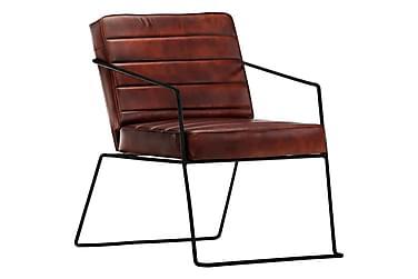 Lænestol ægte læder mørkebrun