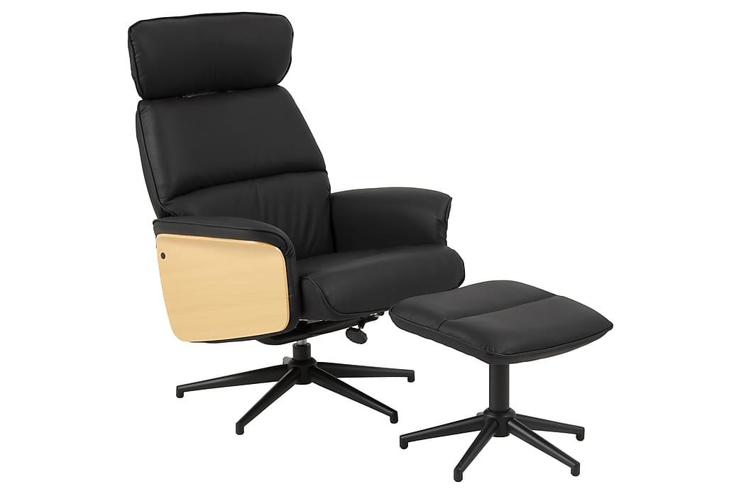 Alura Lænestol_409 + Fodskammel - Sort - Møbler - Lænestole & puffer - Lænestole