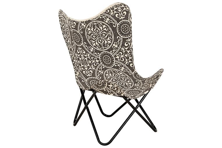 butterflystol med printet kanvas - Sort - Møbler - Lænestole & puffer - Lænestole