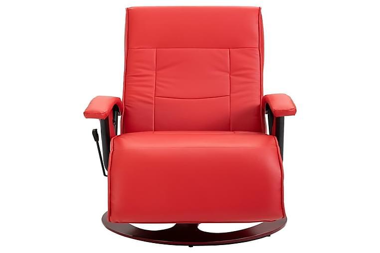 Drejelig Lænestol Rød Kunstlæder - Rød - Møbler - Lænestole & puffer - Lænestole