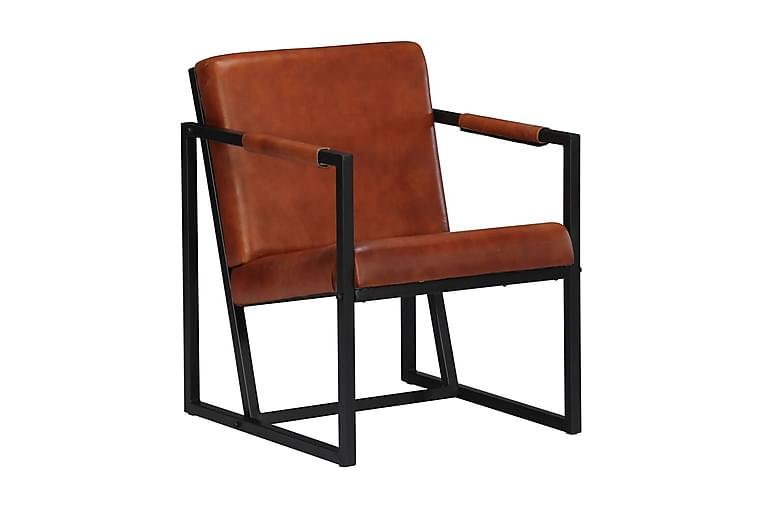 Lænestol Ægte Læder Brun - Brun - Møbler - Lænestole & puffer - Lænestole
