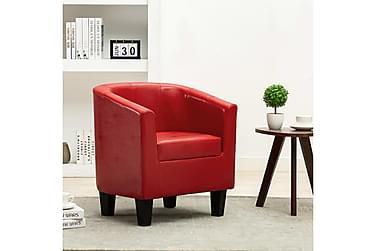Lænestol kunstlæder rød