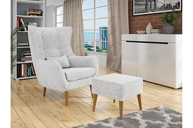 Lænestol LORD med Fodskammel - Grå - Møbler - Lænestole & puffer - Lænestole