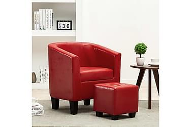 Lænestol med fodskammel kunstlæder rød