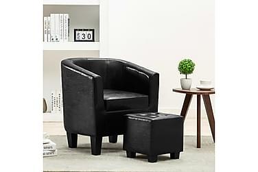 Lænestol med fodskammel kunstlæder sort