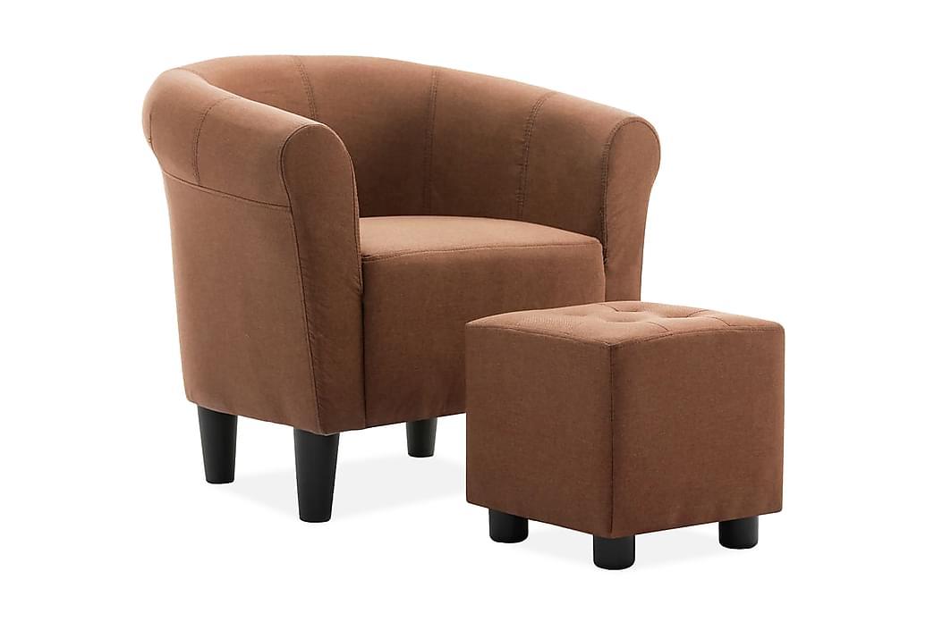 lænestol og fodskammel 2 dele stof brun - Møbler - Lænestole & puffer - Lænestole