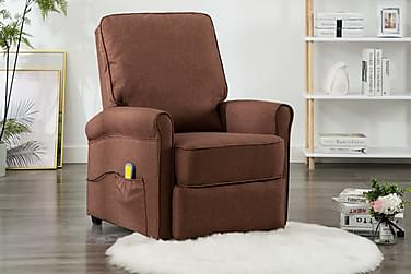 elektrisk massagelænestol stof brun