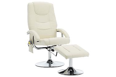 massagelænestol med fodskammel hvid og kunstlæder