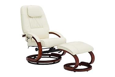 massagelænestol med fodskammel kunstlæder cremefarvet