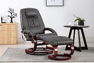 massagelænestol med fodskammel kunstlæder grå
