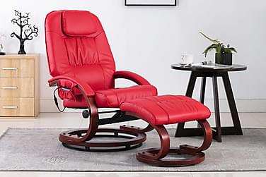 massagelænestol med fodskammel kunstlæder rød
