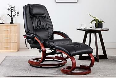 massagelænestol med fodskammel kunstlæder sort