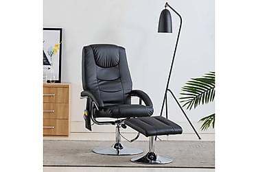 massagelænestol med fodskammel sort kunstlæder