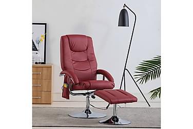 massagelænestol med fodskammel vinrød kunstlæder