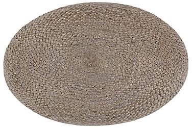 Håndlavet Puf 45 X 30 Cm Jute Lysegrå