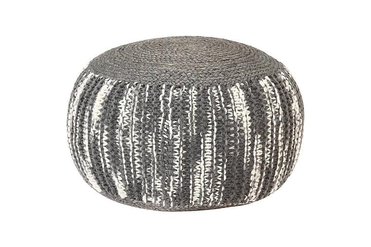 Håndstrikket Puf 50x35 cm Uld Mørkegrå Og Hvid - Grå - Møbler - Lænestole & puffer - Ottoman