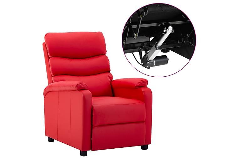eldrevet lænestol kunstlæder rød - Rød - Møbler - Lænestole & puffer - Recliner lænestol