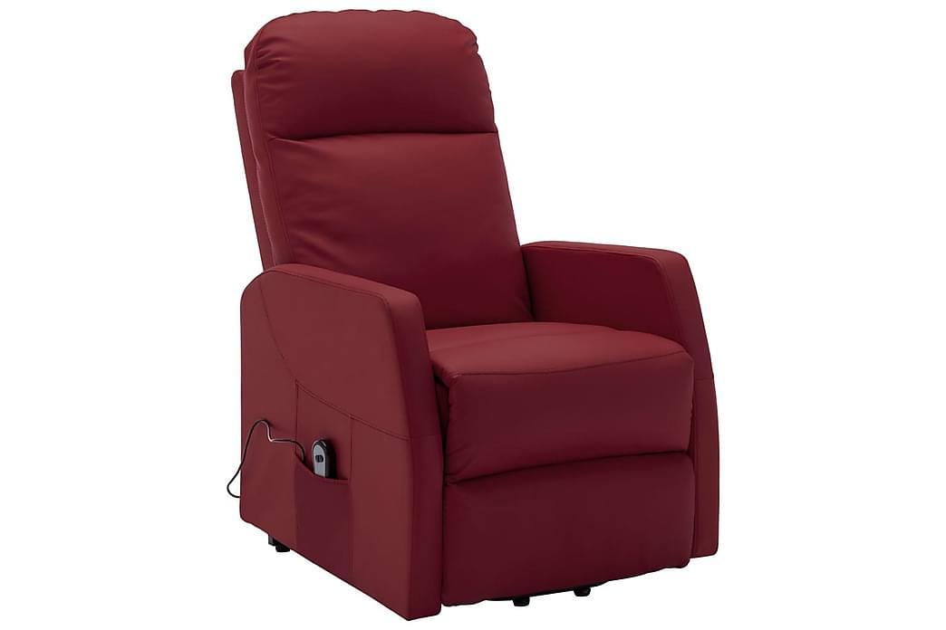 lænestol med løftefunktion kunstlæder vinrød - Rød - Møbler - Lænestole & puffer - Recliner lænestol