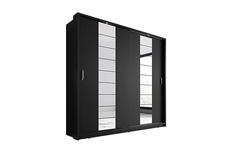 Maxima Garderobe 215 cm LED-belysning 2 Skydedøre - Sort - Møbler - Opbevaring - Garderobeskabe