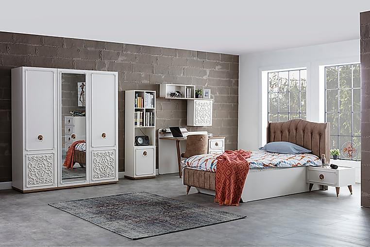 Shawmut Garderobe 172x58 cm med Spejl - Hvid/Natur - Møbler - Opbevaring - Garderobeskabe